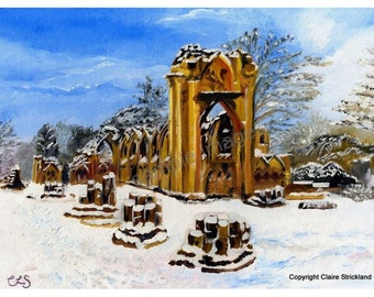 St Mary's Abbey, York, England. Original Oil Painting by English Artist Claire Strickland