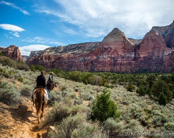 Horseback Riding in Zion Canyon Print, Zion National Park Fine Art Print, National Park Art, American West Photo, Wall Art, Home Decor, Red
