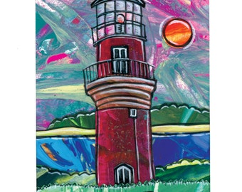 Martha's Vineyard Lighthouse Print. Aquinnah Light. 5x7, matted to 8x10.