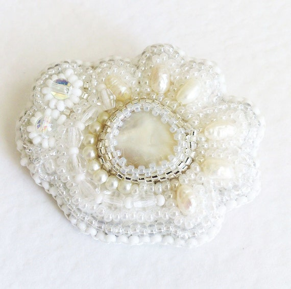Bead Embroidery Brooch Pearl Flower Gifts For By
