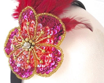 50 Percent Off - Feather Fascinator - Red Headband - Clearance Sale - Sequined Flower - Roaring Twenties- Flapper Headband- Burlesque Outfit