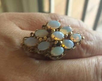 White opal cluster ring