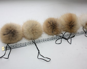 Red fox fur ball. Gray beige color. 12 cm / 4.5 inches