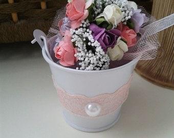Flowers bucket Wedding favors bucket Lace Flowers bucket White bucket