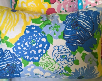 "Lilly Pulitzer Lee Jofa Heritage Floral Blues! Custom Pillow Cover with Brunschwig & Fils Trim, Throw Pillow, Decorative Pillow 13""x19"""