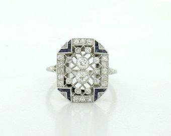 Vintage Lady's Platinum Diamond and Synthetic Sapphire Corundum Ring