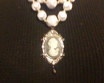 3 strand beaded cameo necklace