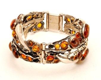 Old Bracelet With Citrin Gemstones Sterling Silver 925 Hand Made