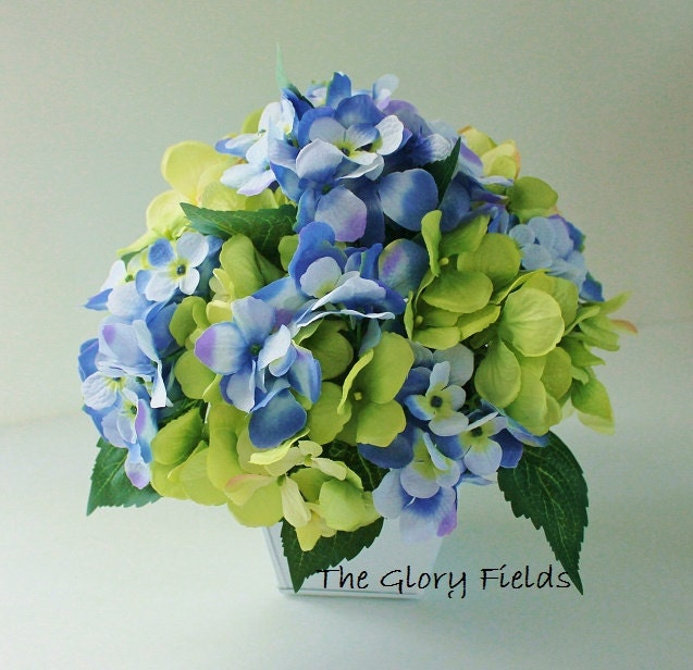 Blue and green hydrangea silk centerpiece by thegloryfields
