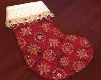 Red & Gold Snowflake Stocking