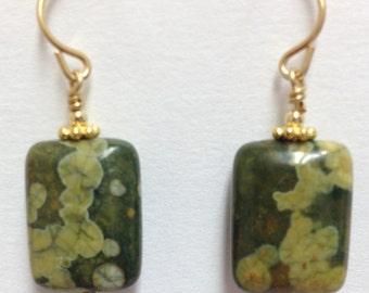 Rhyolite stone earrings