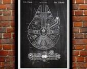 Star Wars Millenium Falcon - Geek Decor - Patent Print Poster Wall Decor - 0068