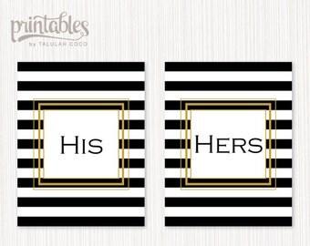 Son et Hers signe imprimable noir or blanc rayures mariage affiche pendaison de crémaillère cadeau Couples cadeau décoration murale BRICOLAGE Art instantané téléchargement