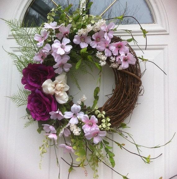 Cottage Garden Crescent Door Wreath For Spring by WreathsForDoor