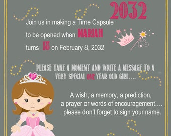 Princess Chalkboard Time Capsule Sign for a First Birthday