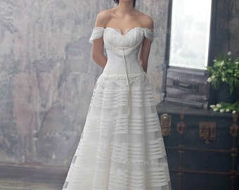 "Haute Couture Wedding Dress Romantic Wedding Gown from silk organza and Chantilly lace Dream Dress Rustic dress -""Lyra"""
