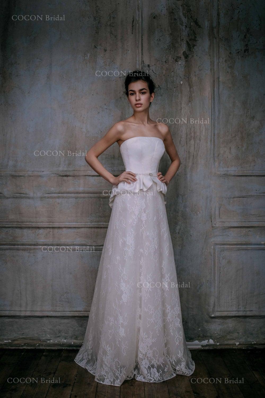 Wedding dress from mikado silk and chantilly lace lace gown for Chantilly lace wedding dress
