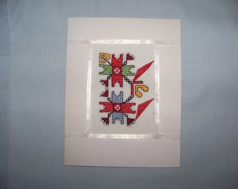 Embroidered Greeting Card .Cross Stitch.Ethnic Style.Handmade.