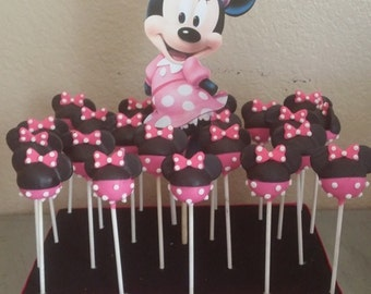 12-minnie mouse theme cake pops