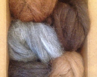 Llama roving natural color, ready for hand spinning