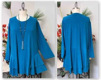 Adortable and Romantic Plus Size Tunic Top XL/1XL,  2XL/3XLTraveler, Lagenlook, Boho, Country