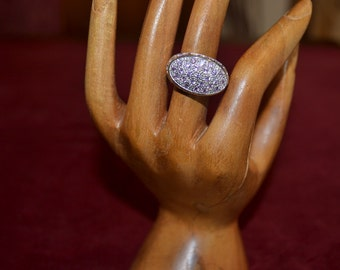 Sterling silver ring with Swarovsky in a pale pink colour tjan196