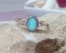 SALE! Three stone ring,Gray rainbow ring,Labradorite ring,gold gemstone ring,vintage ring,bridesmaid rings,wedding gifts,stack ring