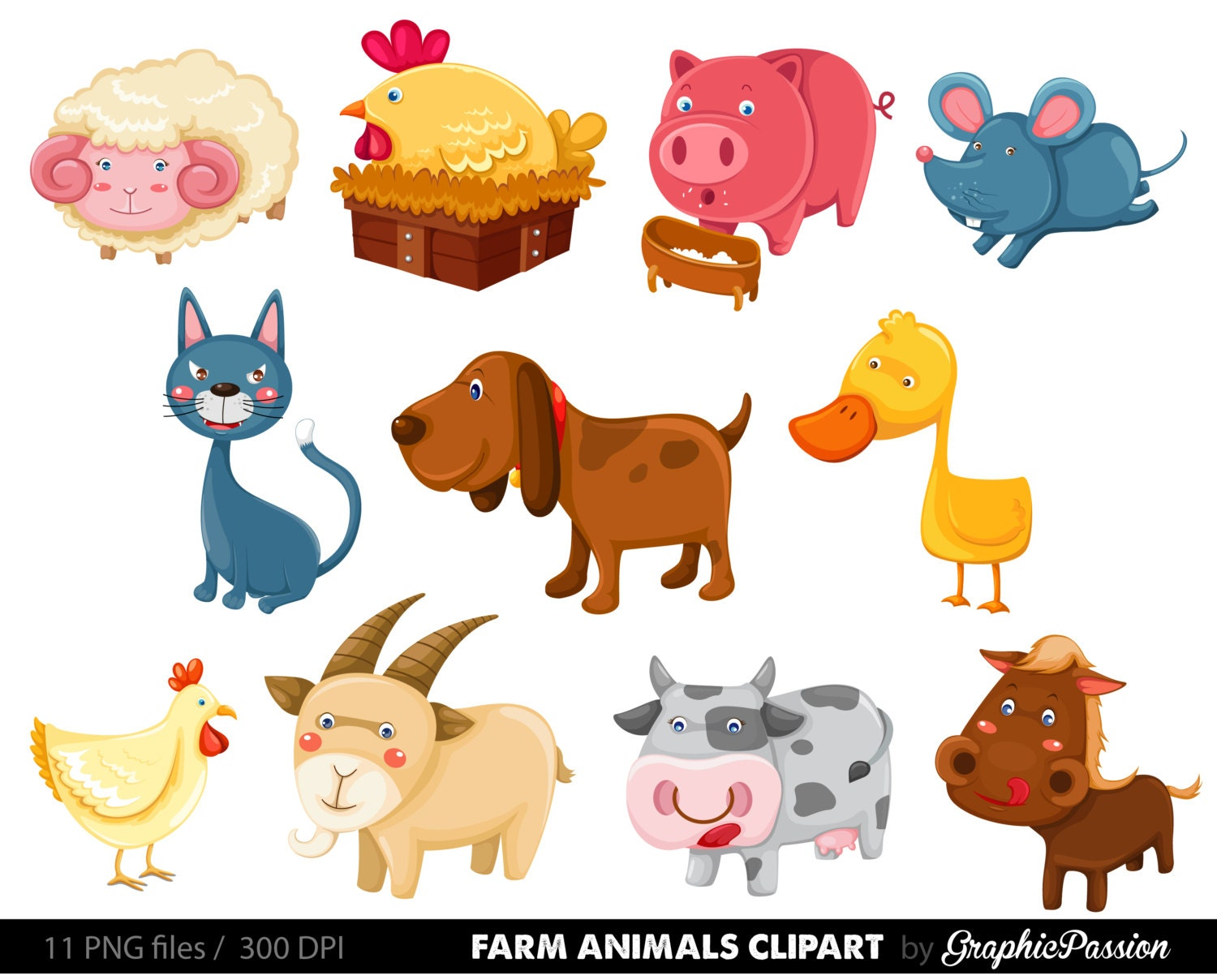 Cute Farm Animals Clipart | Wallpapers Background