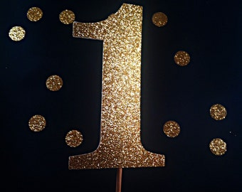Number Cake Topper - age cake topper - party supplies - cake decorations - gold