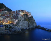Cinque Terre - Digital Photo Download, Village Sea, For Print,Night Scene,Romantic Photo,Trip to Italy, Printable, Instant Download,Manarola