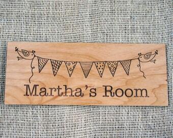 Childrens / Baby's Bedroom Door Sign - Bunting