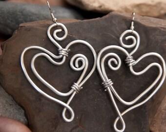 Handmade Wire Wrapped Heart Earrings
