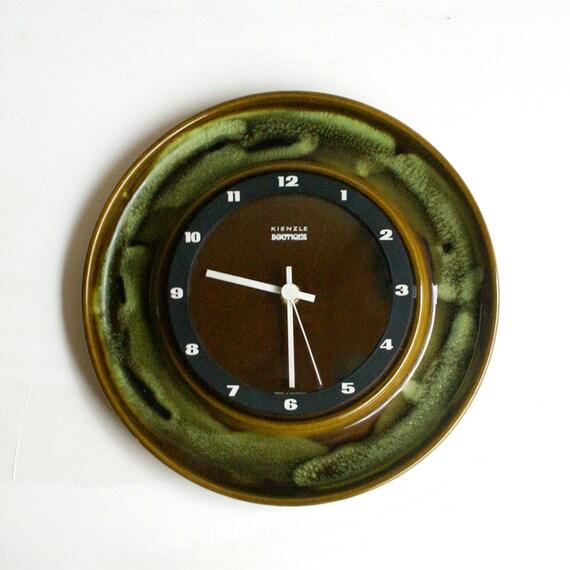 vintage wall clock kienzle boutique german ceramic 70s