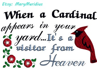 INSTANT-Machine Embroidery Design Download~Cardinal are Angels from Heaven~bereavement~Cute Bird~Love~MaryMeridius~Memorial~Memory~Remember