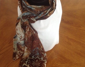 Brown and teal scarf