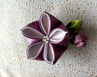 Japanese Tsumami Flower - purple - Hairpin/Brooch