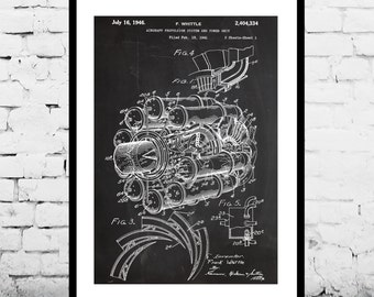 Jet Engine Patent, Jet Engine Poster , Jet Engine Blueprint , Jet Engine Art, Jet Engine Print, Jet Engine Wall Art, Airplane