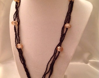 Brown and Crystal Beaded Necklace