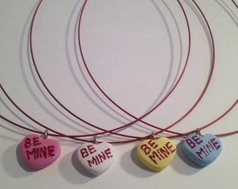 """Not So Sweet Hearts """"Be Mine"""" metal necklace (faux SweetTarts / conversation hearts)"""