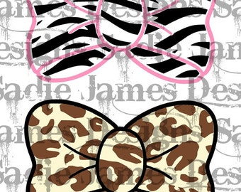 Zebra and Leopard print bows SVG and Silhouette Studio cutting file, Instant download