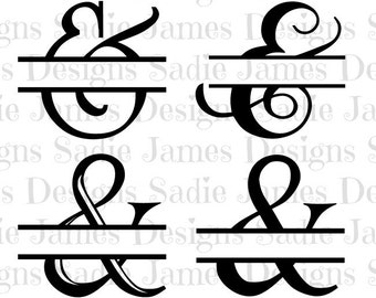 Split Ampersand SVG and Silhouette Studio cutting file, Instant Download