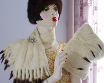 Beautiful Edwardian/1920's Ermine Muff and Collar