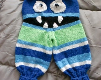 Hand Knitted Monster Bum Pants 6-12 months or 1-2 years.