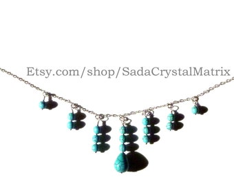 Turquoise Magnesite and Silver Necklace & Earrings