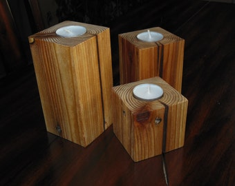 Set of 3 reclaimed wood tea-light candle holders