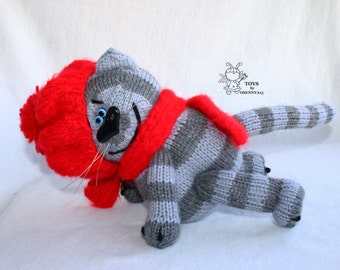 Tabby cat- knitting pattern (knitted round)