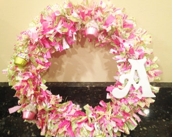 Monogram Cupcake Wreath, Home Decor, Mantel Decor, Front Door Wreath, 18 Inch  ~made to order~