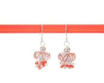 RED LAMPWORK EARRINGS   Red lampwork glass earrings with silver Hypoallergenic earring wires