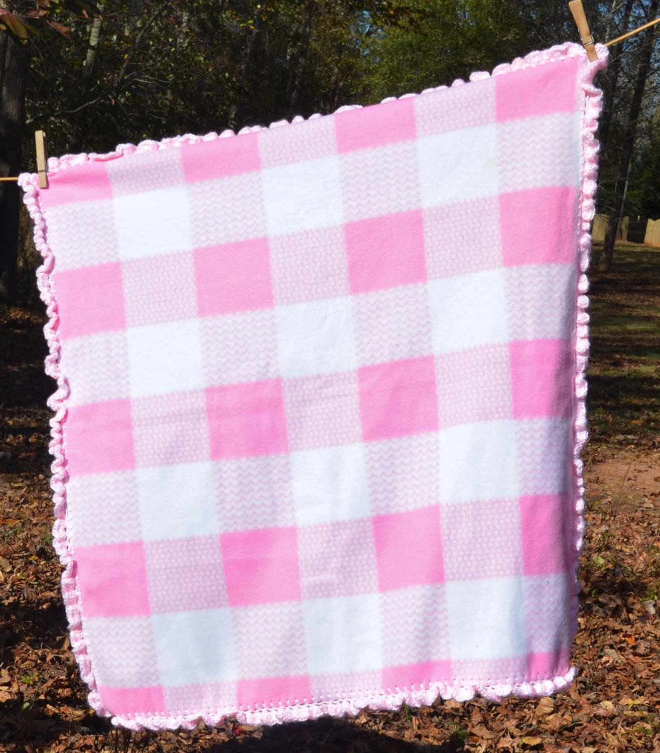 Plaid Baby Quilt: Pink And White Plaid Baby Blanket