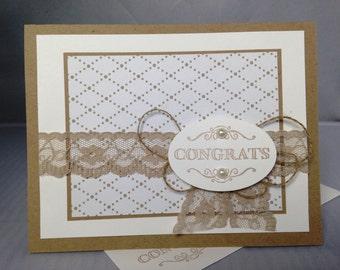 Stampin Up Handmade Greeting Card, Congrats Wedding Card